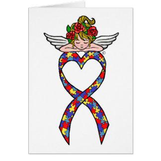 Autism Heart Ribbon Angel Card