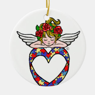 Autism Heart Ribbon Angel Round Ceramic Ornament