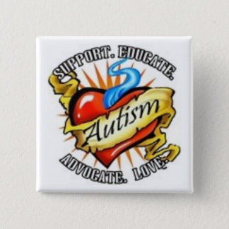 autism heart tatoo 2 inch square button