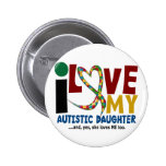 AUTISM I Love My Autistic Daughter 2 Buttons