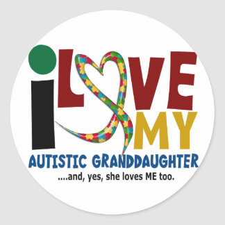 AUTISM I Love My Autistic Granddaughter 2 Round Sticker