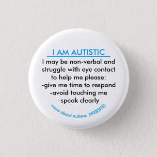Autism information badge 1 inch round button
