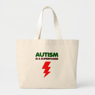 Autism is super power, children, kids, mind mental large tote bag