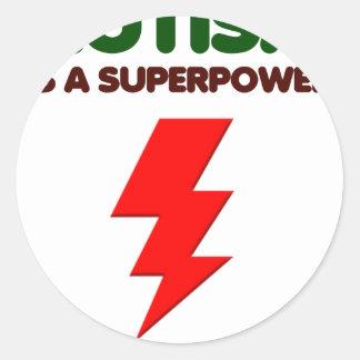 Autism is super power, children, kids, mind mental round sticker