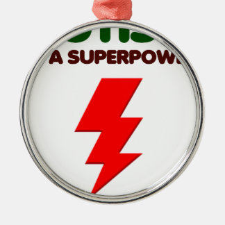 Autism is super power, children, kids, mind mental Silver-Colored round ornament