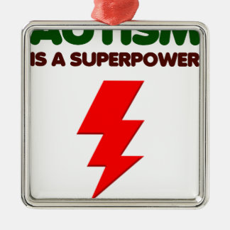 Autism is super power, children, kids, mind mental Silver-Colored square ornament