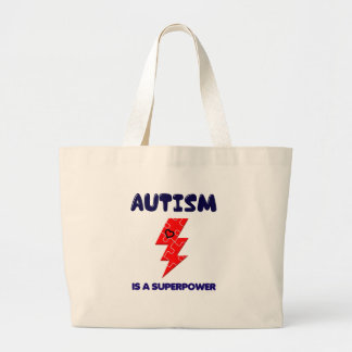 Autism is superpower, mental condition health mind large tote bag