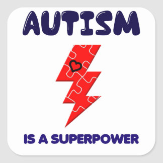 Autism is superpower, mental condition health mind square sticker