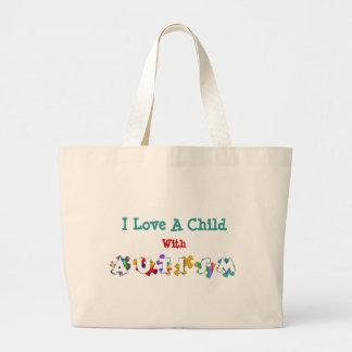 """Autism Love"" Canvas Totebag Large Tote Bag"