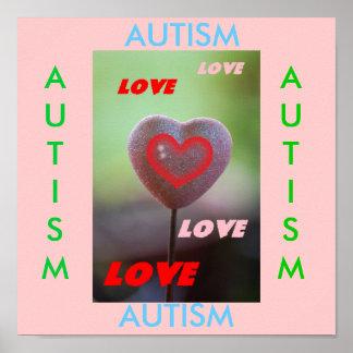 Autism Love Love Love Love Heart Print