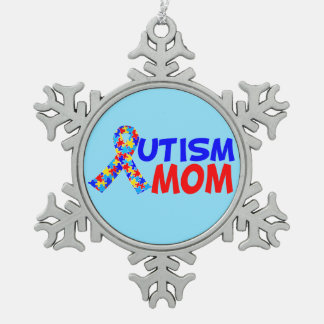 Autism Mom Blue Pewter Snowflake Ornament