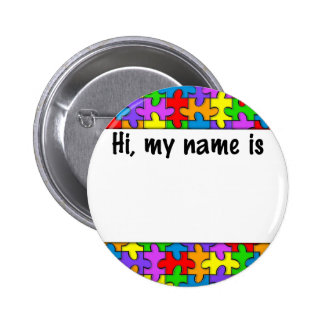 Autism Name Tag 2 Inch Round Button