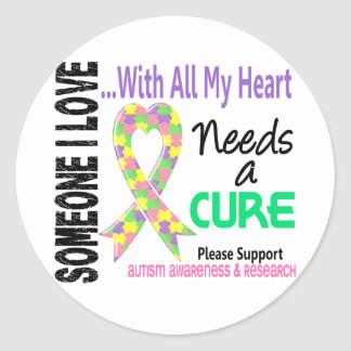 Autism Needs A Cure 3 Pastel Classic Round Sticker