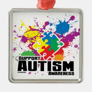 Autism Paint Splatter Silver-Colored Square Ornament