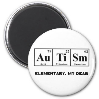 Autism, Periodic Table Elements & Sherlock Holmes 2 Inch Round Magnet