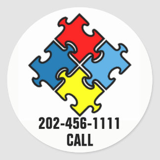 Autism Puzzle Piece ID Sticker YOUR Phone Number
