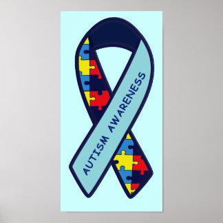 Autism Puzzle Ribbon Awareness Poster