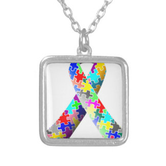 Autism Puzzle Ribbon Silver Plated Necklace