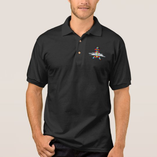 Autism Puzzle Ribbon with Swans Polo Shirt