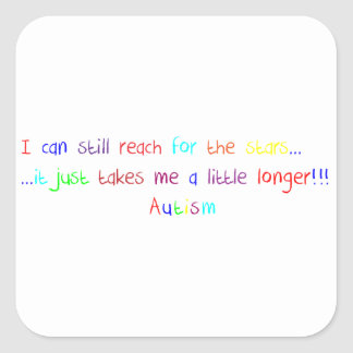 Autism Reach For The Stars Square Sticker