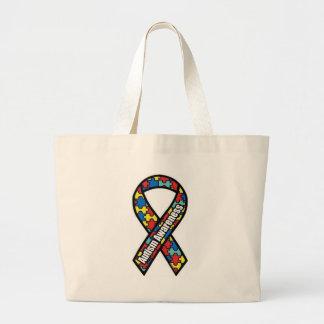 Autism Ribbon_bag Large Tote Bag