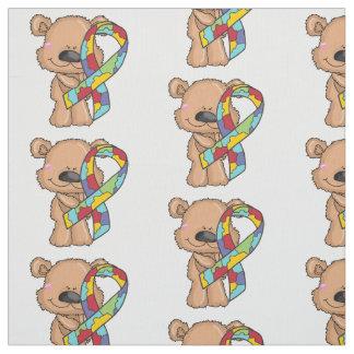 Autism Ribbon Bear Awareness Fabric