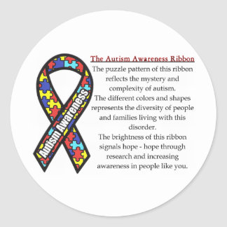 Autism Ribbon meaning Round Sticker