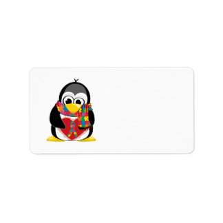 Autism Ribbon Penguin Scarf