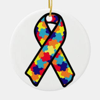 Autism Ribbon Round Ceramic Ornament