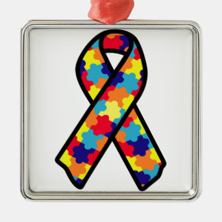 Autism Ribbon Silver-Colored Square Ornament