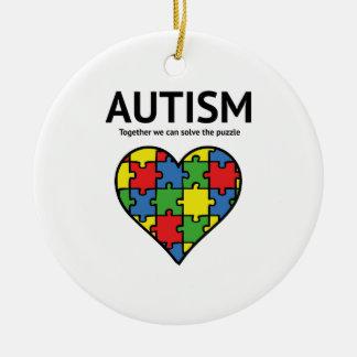 Autism Round Ceramic Ornament