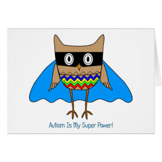 Autism Super Hero Owl, Autism Awareness Colors Card