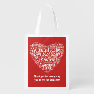 Autism Teacher Appreciation - Select Your Color Reusable Grocery Bag