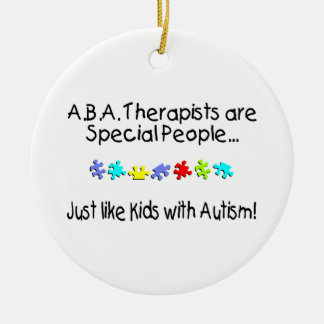 Autism Therapist Round Ceramic Ornament