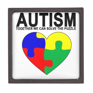 Autism - Together we can solve the puzzle T-Shirt. Premium Jewelry Boxes