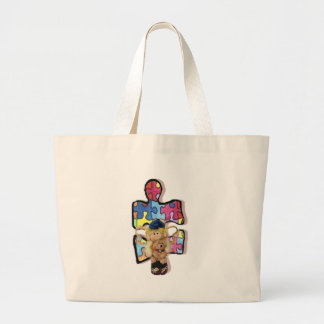 Autistic Boy Angel With Puppy Large Tote Bag