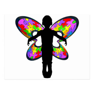 Autistic Butterfly Ribbon Postcard