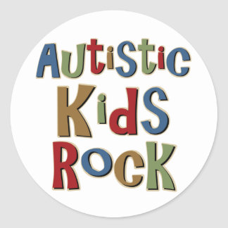 Autistic Kids Rock Tee Shirts and Gifts Round Sticker