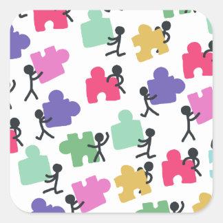 autistic people square sticker