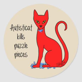 Autisticat Kills Puzzle Pieces Round Sticker
