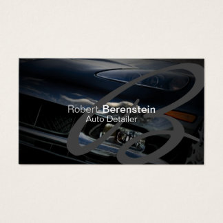 Auto Detailer Monogram Black Car Automotive Business Card