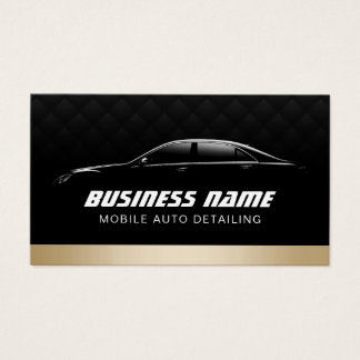 Auto Detailing Automotive Modern Black & Gold Car Business Card