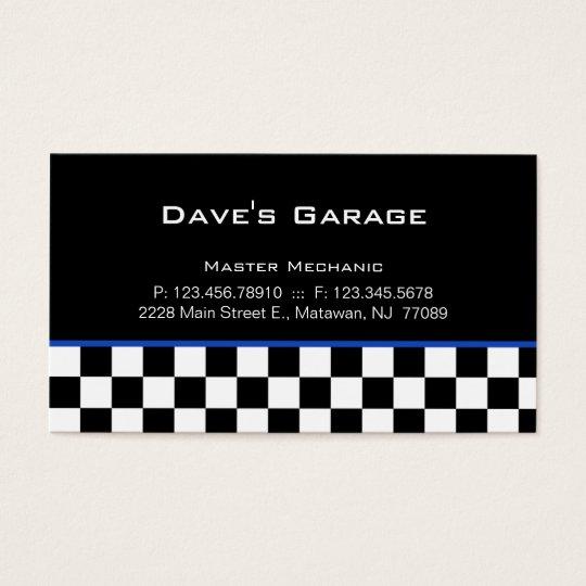 Auto Garage Business Card Racing Blue