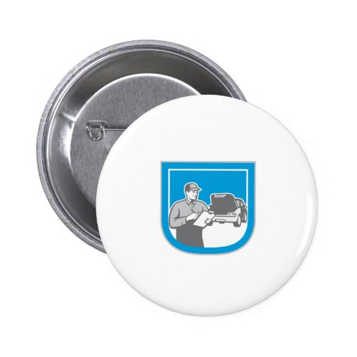 Auto Mechanic Automobile Car Repair Check Retro Button
