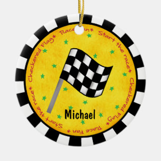Auto Race Fan Checkered Flag Name Year Customized Round Ceramic Ornament