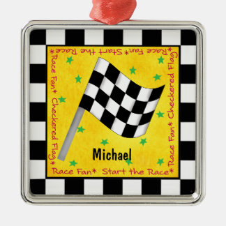 Auto Race Fan Chequered Flag Name Personalized Metal Ornament