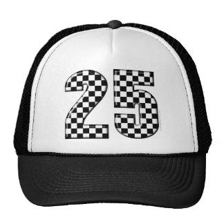 auto racing checkers number 25 hat