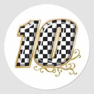 auto racing number 10 in gold classic round sticker