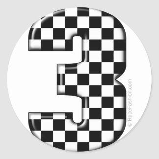 auto racing number 3 classic round sticker