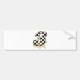 auto racing number 3 gold bumper sticker